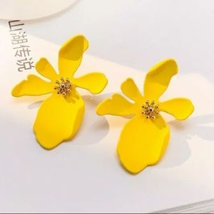 Yellow Acrylic Flower Earrings